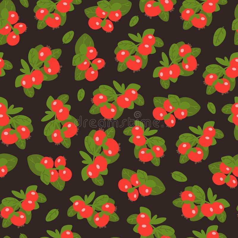 Het naadloze patroon van Lingonberrybessen op donkere achtergrond Wilde bes met hand-drawn stijl Vector illustratie royalty-vrije illustratie