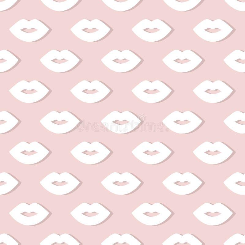 Het naadloze patroon van lippen stock illustratie