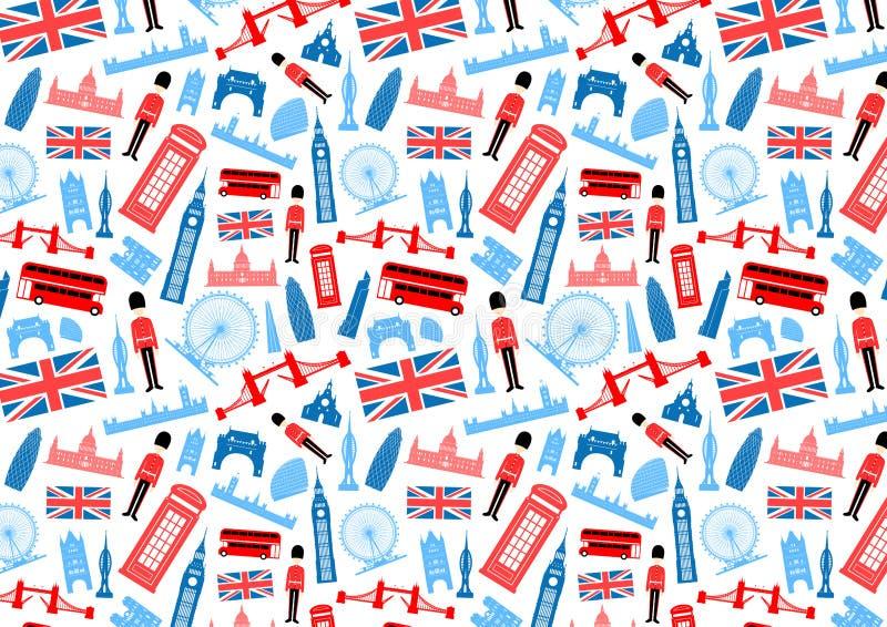 Het Naadloze Patroon van Londen, Engeland stock illustratie