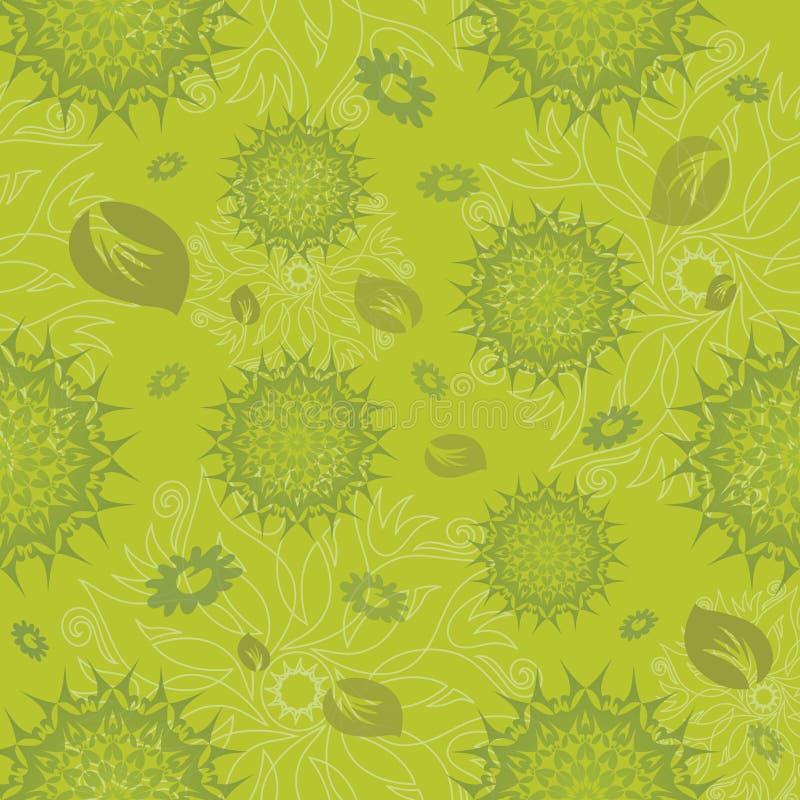 Het Naadloze Patroon van Mandala in Groen royalty-vrije illustratie