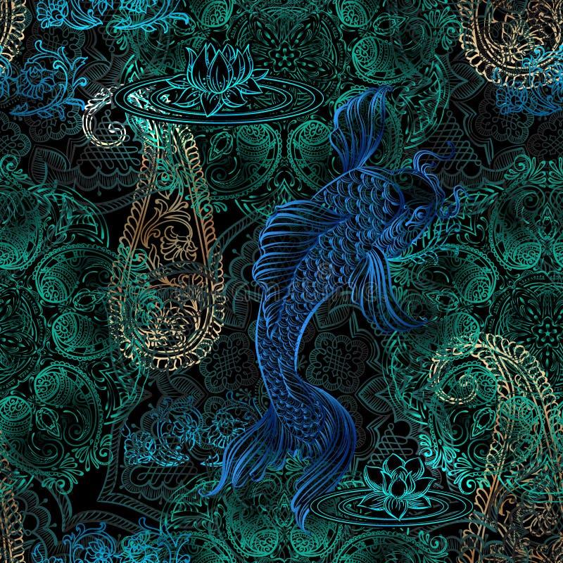 Het naadloze patroon van Mandalakoi stock illustratie