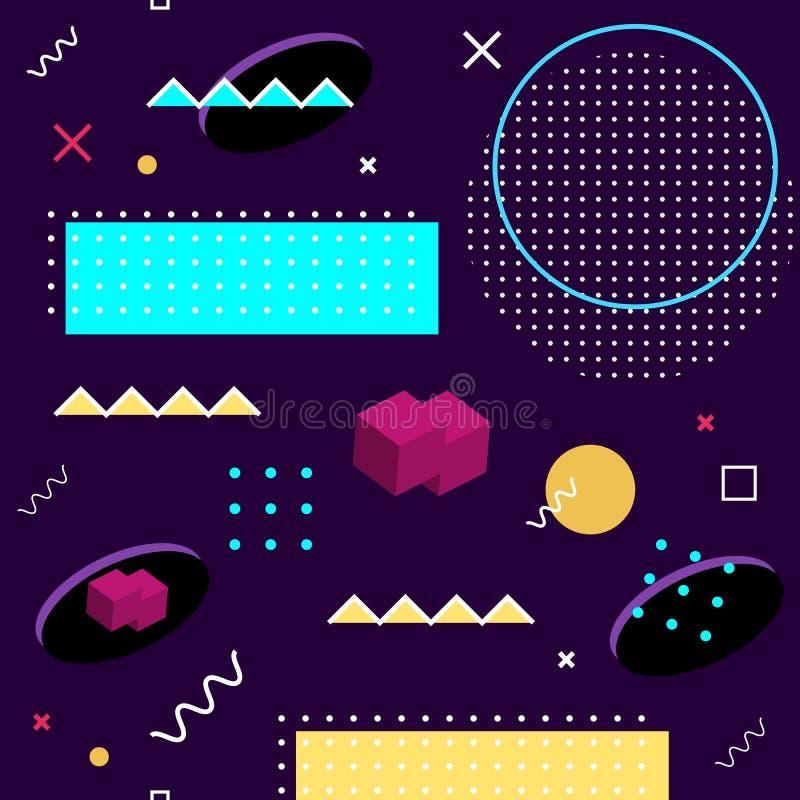 Het naadloze patroon van Memphis Abstract vectorpatroon van geometrische vormen op een purpere achtergrond Het heldere element va vector illustratie