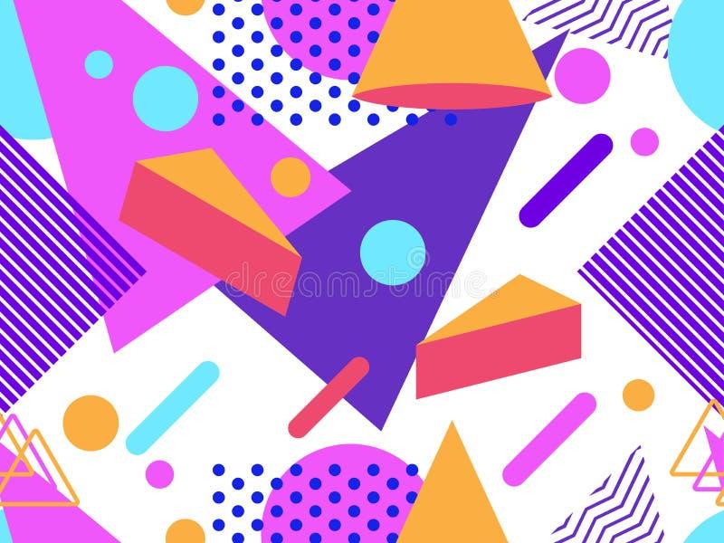 Het naadloze patroon van Memphis Geometrische elementen Memphis in de stijl van de jaren '80 Punten en gestippelde lijnen Vector stock illustratie