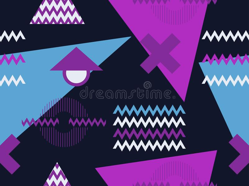 Het naadloze patroon van Memphis Geometrische elementen Memphis in de stijl van de jaren '80 Retro achtergrond Vector royalty-vrije illustratie