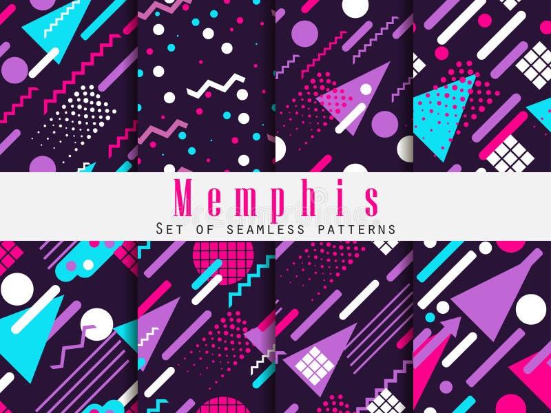 Het naadloze patroon van Memphis Geometrische elementen Memphis in de stijl van 80 ` s Synthwave retro achtergrond Retrowave Vect vector illustratie