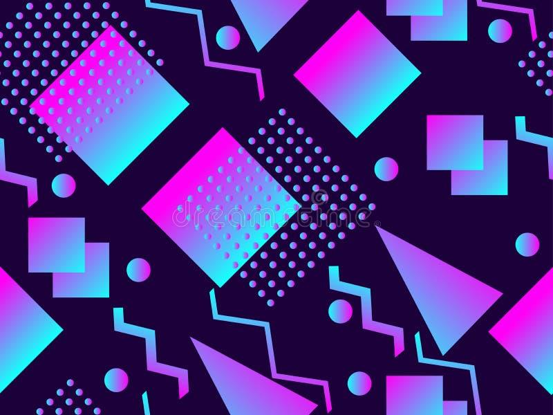Het naadloze patroon van Memphis Holografische geometrische vormen, gradiënten, retro stijl van de jaren '80 Het ontwerpachtergro royalty-vrije illustratie