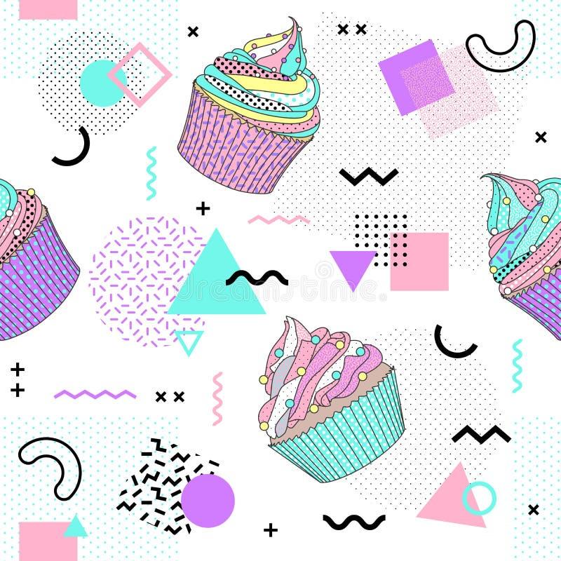 Het naadloze patroon van Memphis met cupcake en geometrische verschillende vormen 80 de stijl van ` s-90 ` s Vector illustratie stock illustratie