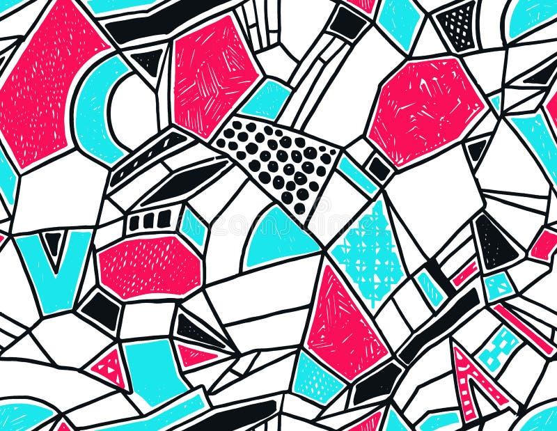 Het naadloze patroon van Memphis in retro stijl Hand-drawn pen van het krabbelpatroon, inkt, krijt stock illustratie