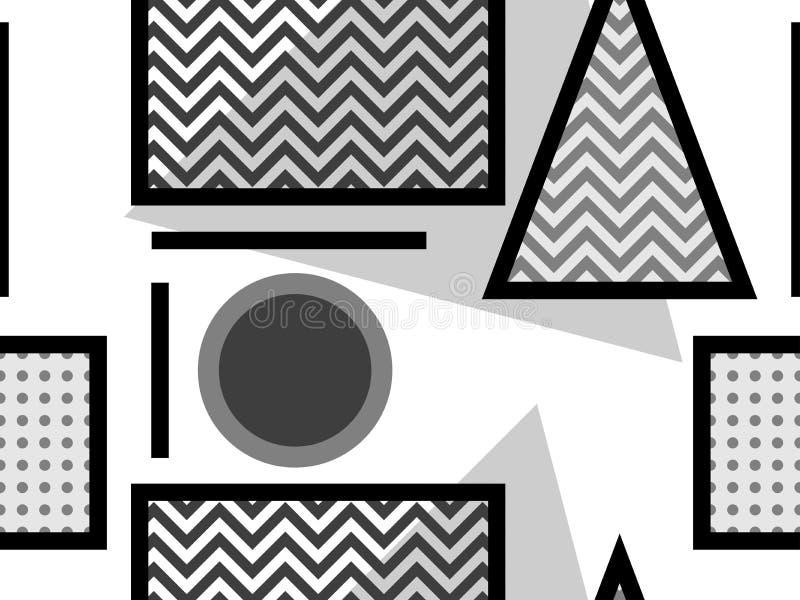 Het naadloze patroon van Memphis, zwart-witte geometrische vormen in de stijl van de jaren '80 Punten en gestippelde lijnen Vecto vector illustratie