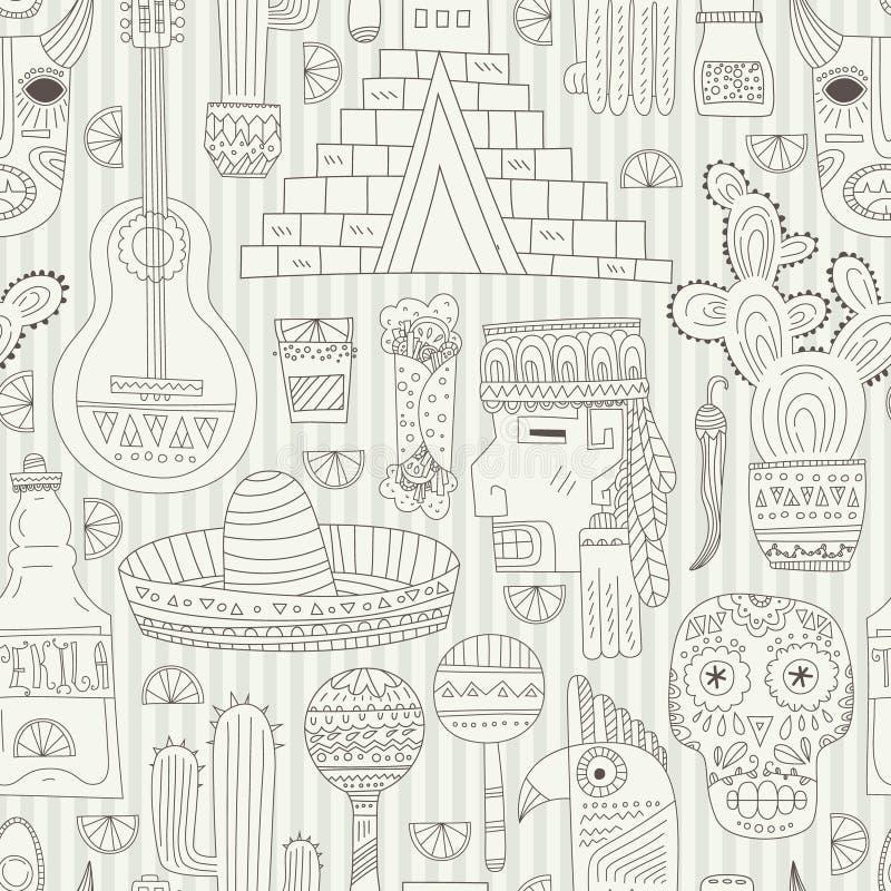 Het naadloze patroon van Mexico vector illustratie