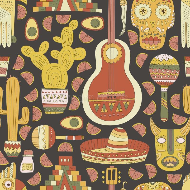 Het naadloze patroon van Mexico stock illustratie