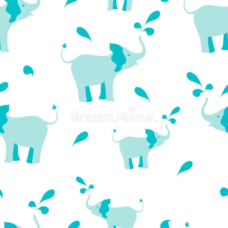 Het naadloze patroon van olifanten vector illustratie