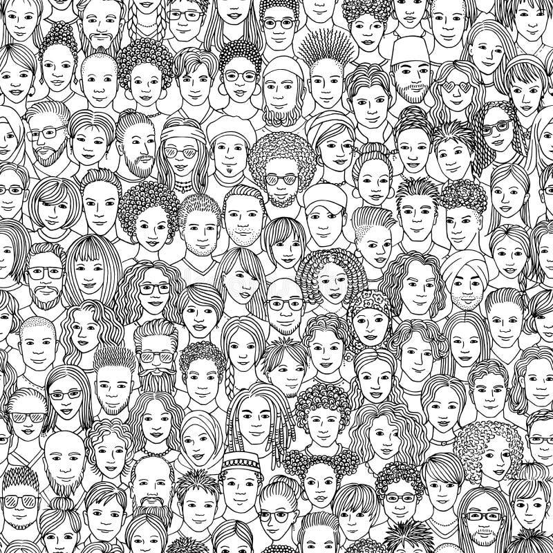 Het naadloze patroon van 100 overhandigt getrokken zwart-witte gezichten, royalty-vrije illustratie
