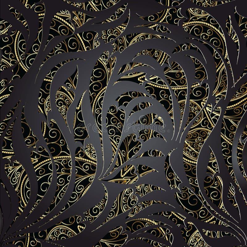 Het naadloze patroon van Paisley Bloemen donkere zwarte kant siervect vector illustratie