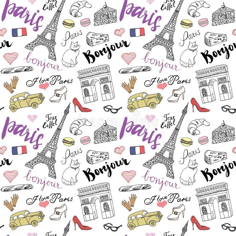Het naadloze patroon van Parijs met Hand getrokken schetselementen - de toren van Eiffel triumf overspant, vormt punten Vectorill stock illustratie