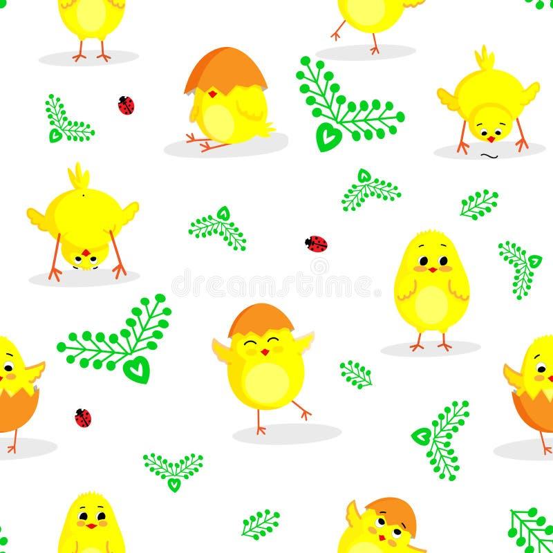 Het naadloze patroon van Pasen met kleine leuke kippen in vector stock fotografie
