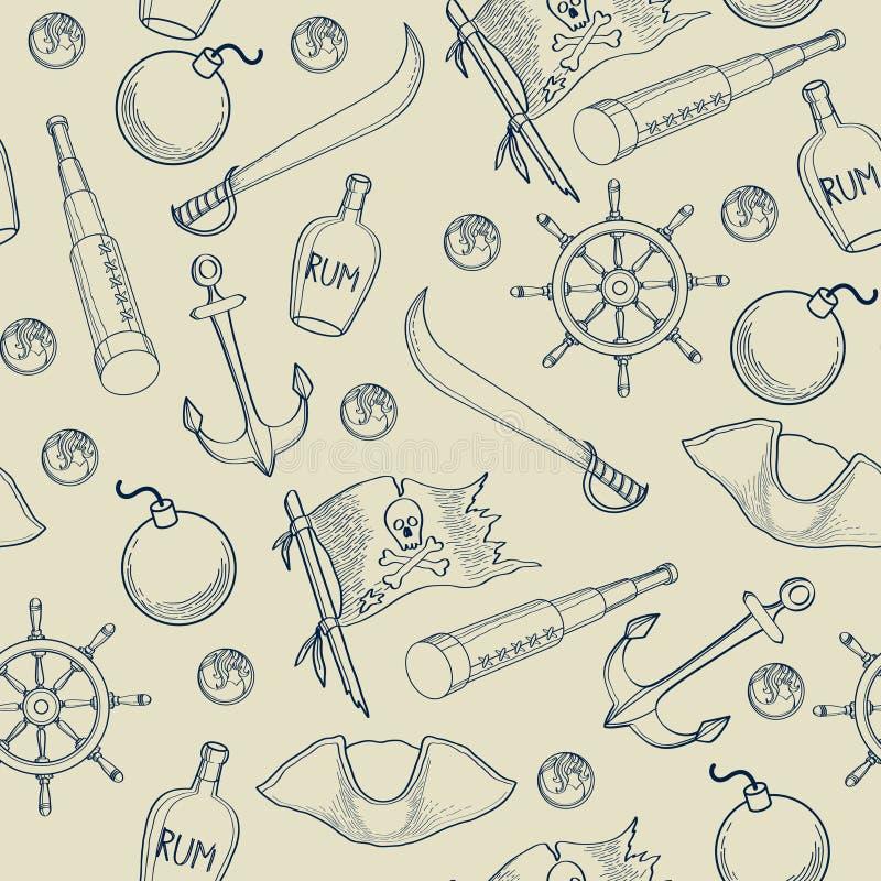 Het naadloze patroon van piratenelementen stock illustratie