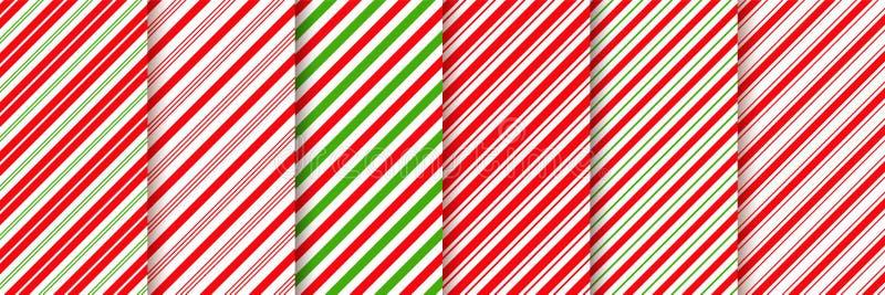 Het naadloze patroon van het rietsuikergoed Vector rode groene illustratie stock illustratie
