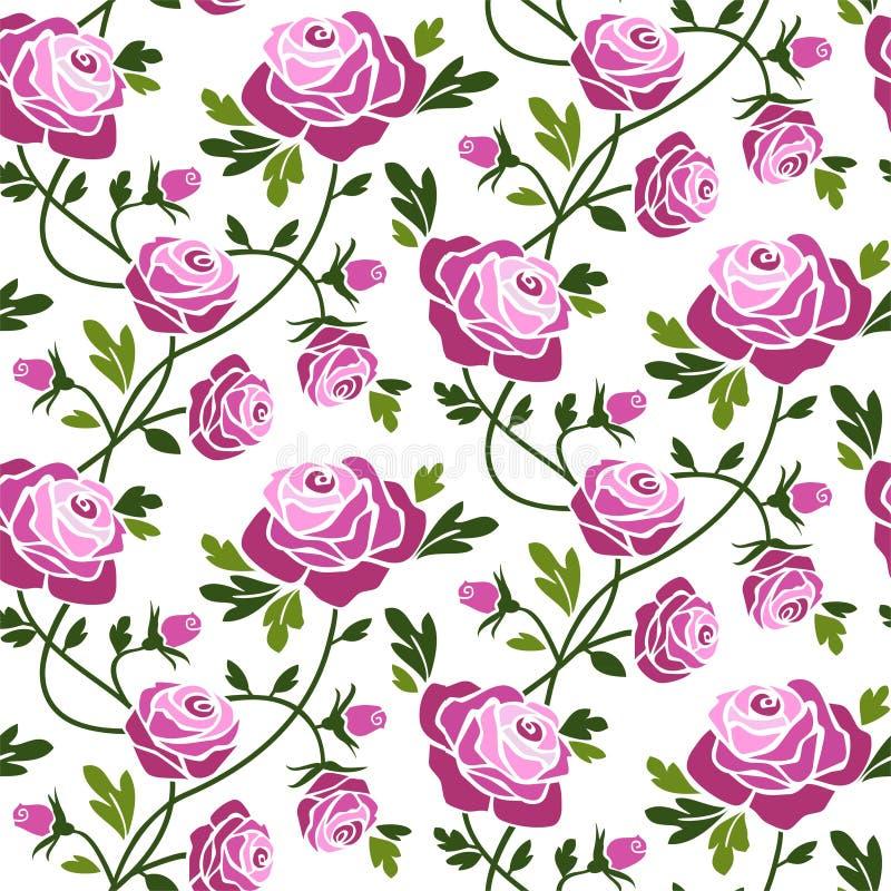 Het naadloze patroon van rozen stock illustratie