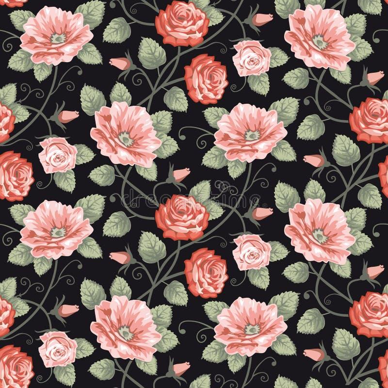 Het naadloze patroon van rozen vector illustratie