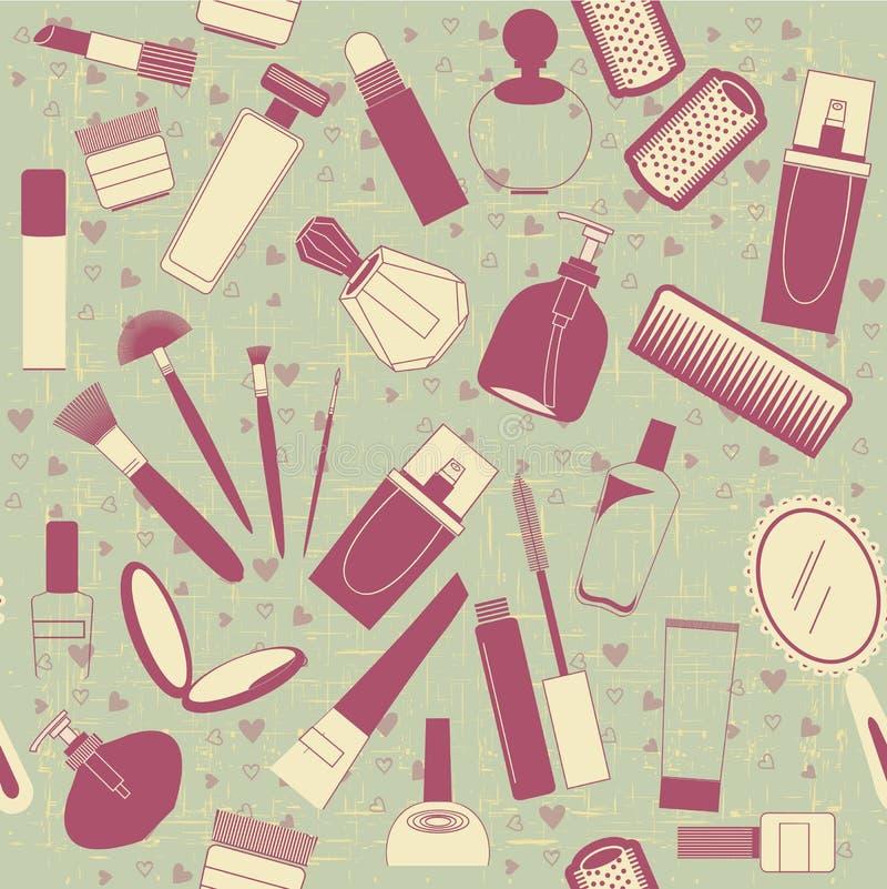Het naadloze patroon van schoonheidsmiddelen. Uitstekende achtergrond op o vector illustratie