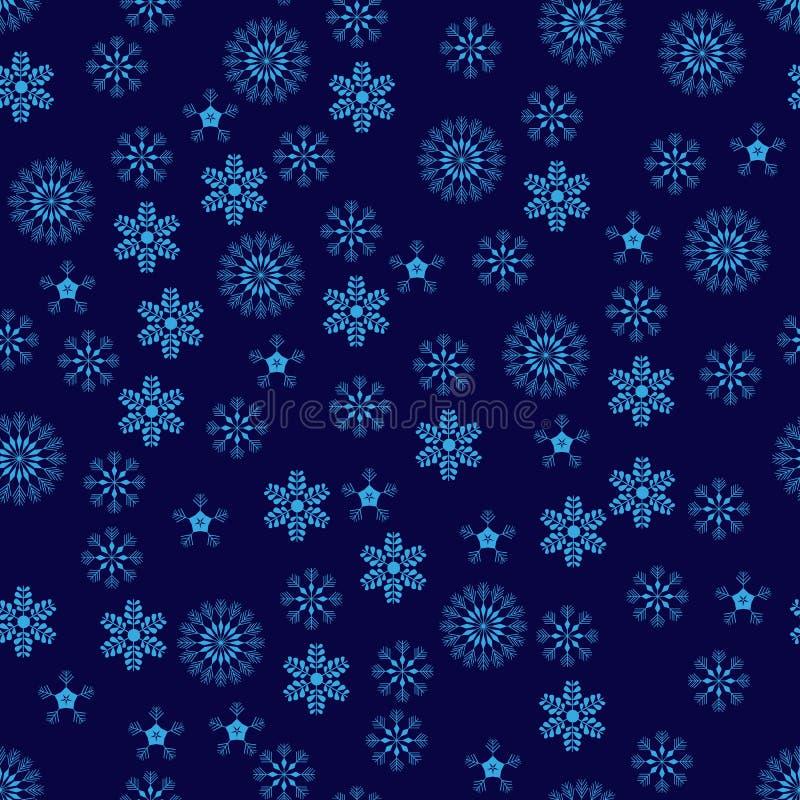 Het Naadloze Patroon van sneeuwvlokken De blauwe abstracte achtergrond van sneeuwvlok vectorkerstmis royalty-vrije illustratie