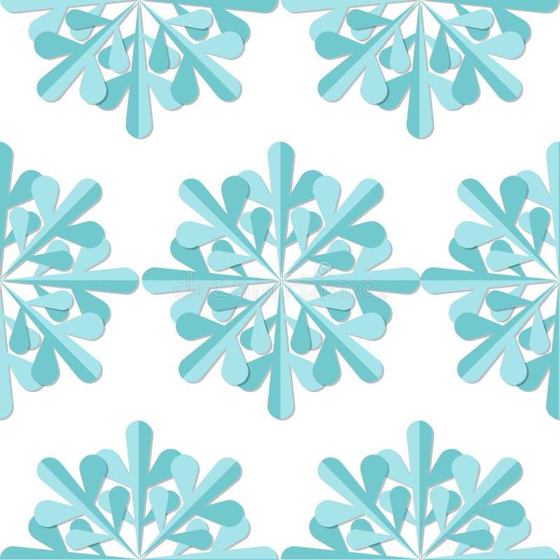 Het Naadloze Patroon van sneeuwvlokken De blauwe achtergrond van sneeuwvlokkerstmis royalty-vrije illustratie