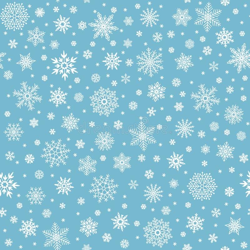Het Naadloze Patroon van sneeuwvlokken De vloksterren van de de wintersneeuw, dalende vlokkensneeuw en gesneeuwde sneeuwval vecto stock illustratie