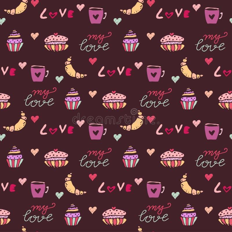 Het naadloze patroon van snoepjes   stock illustratie