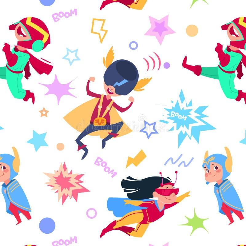 Het naadloze patroon van Superherojonge geitjes Beeldverhaal superheroes kinderen Vliegende van helden super jongens en meisjes v stock illustratie