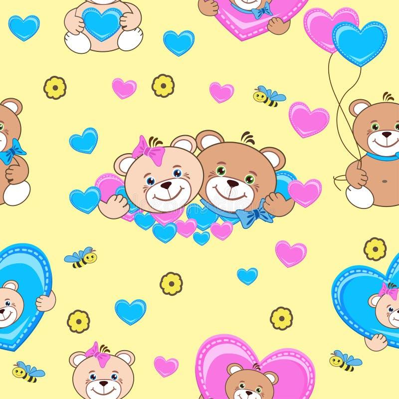 Het naadloze patroon van teddyberen stock illustratie