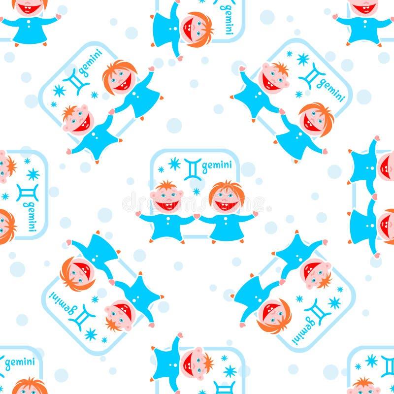 Het naadloze patroon van Tweeling vector illustratie
