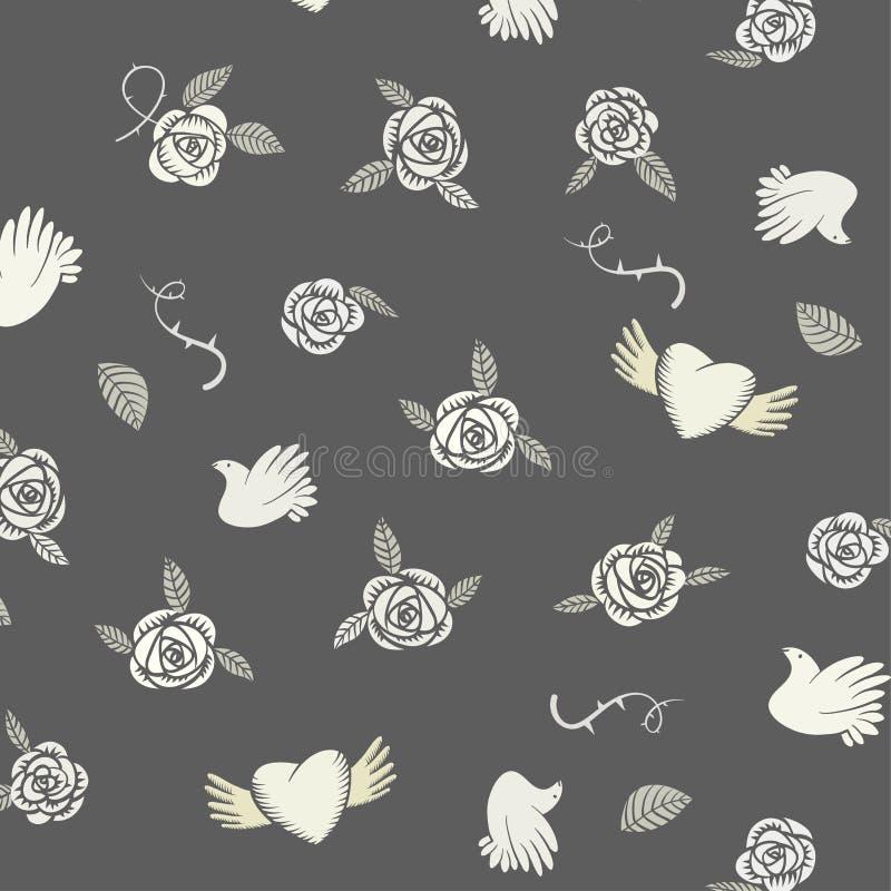 Het naadloze patroon van Valentine op een grijze achtergrond stock illustratie