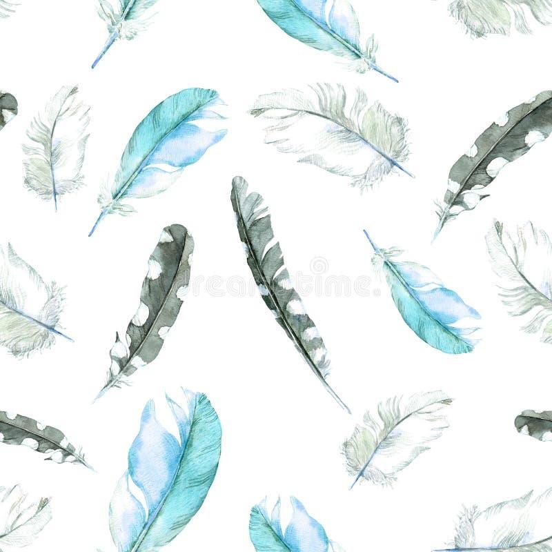 Het naadloze patroon van veren Watercolourachtergrond vector illustratie