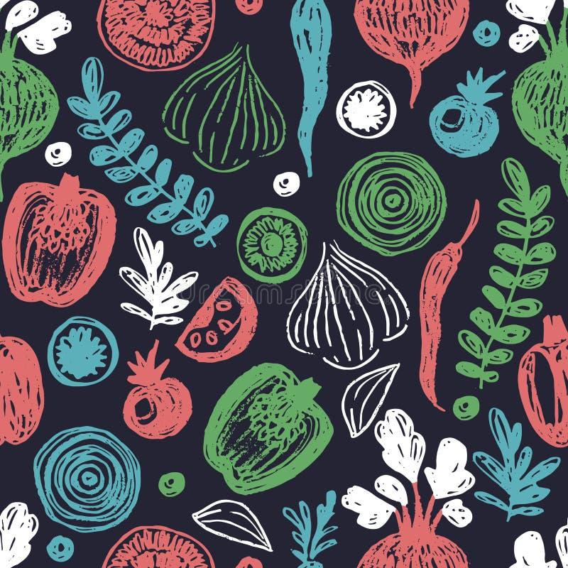Het Naadloze Patroon van verse Groenten Schetsmatige pret gezonde het eten achtergrond royalty-vrije illustratie