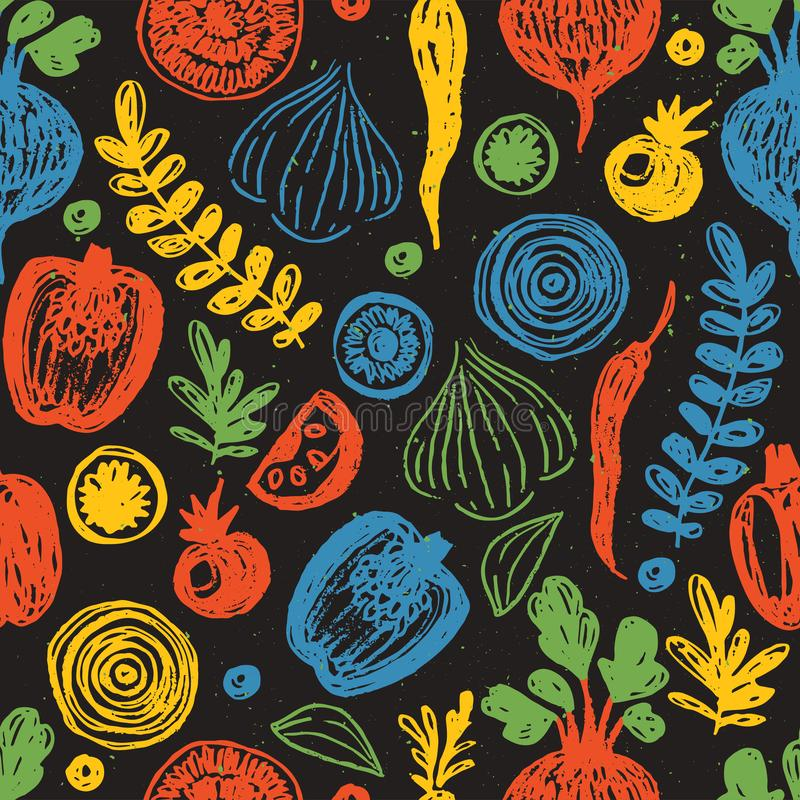 Het Naadloze Patroon van verse Groenten Schetsmatige pret gezonde het eten achtergrond stock illustratie