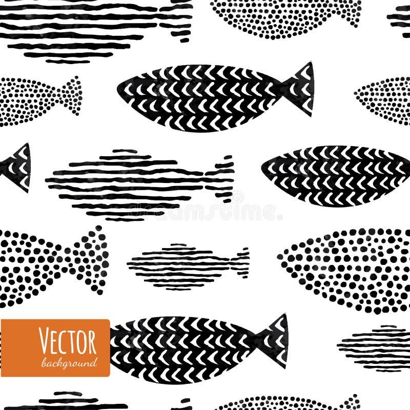 Het naadloze patroon van vissen stock illustratie