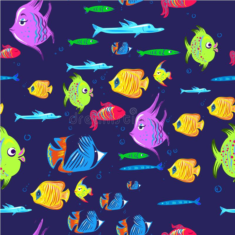 Het naadloze patroon van vissen De leuke achtergrond van de vissendieren van het beeldverhaalaquarium voor druk van de jonge geit royalty-vrije illustratie