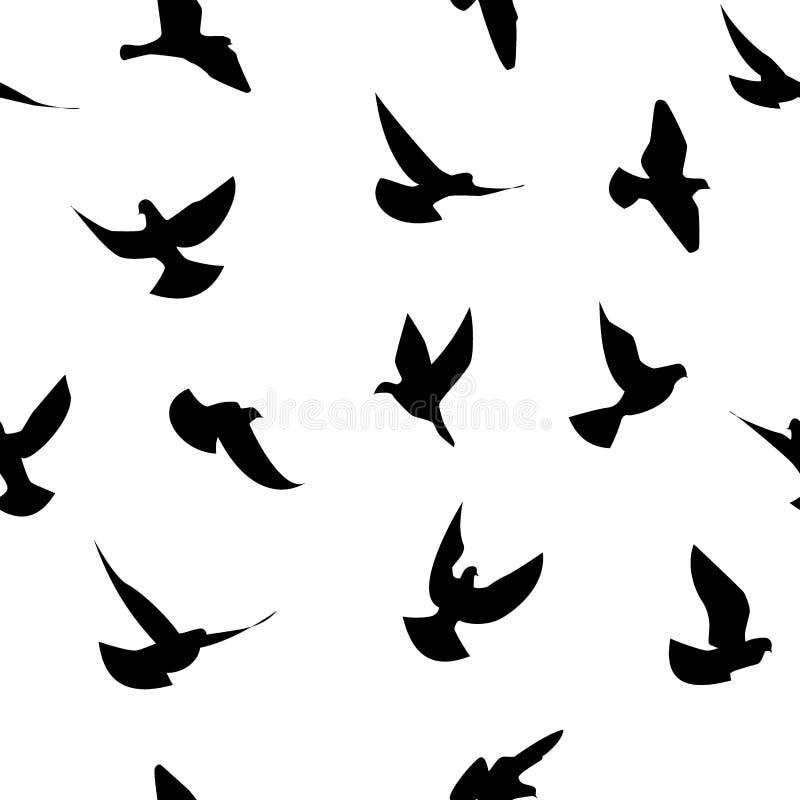 Het naadloze patroon van vogels stock illustratie