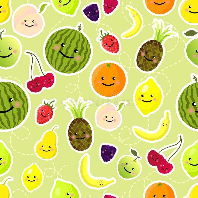 Het naadloze patroon van vruchten stock illustratie