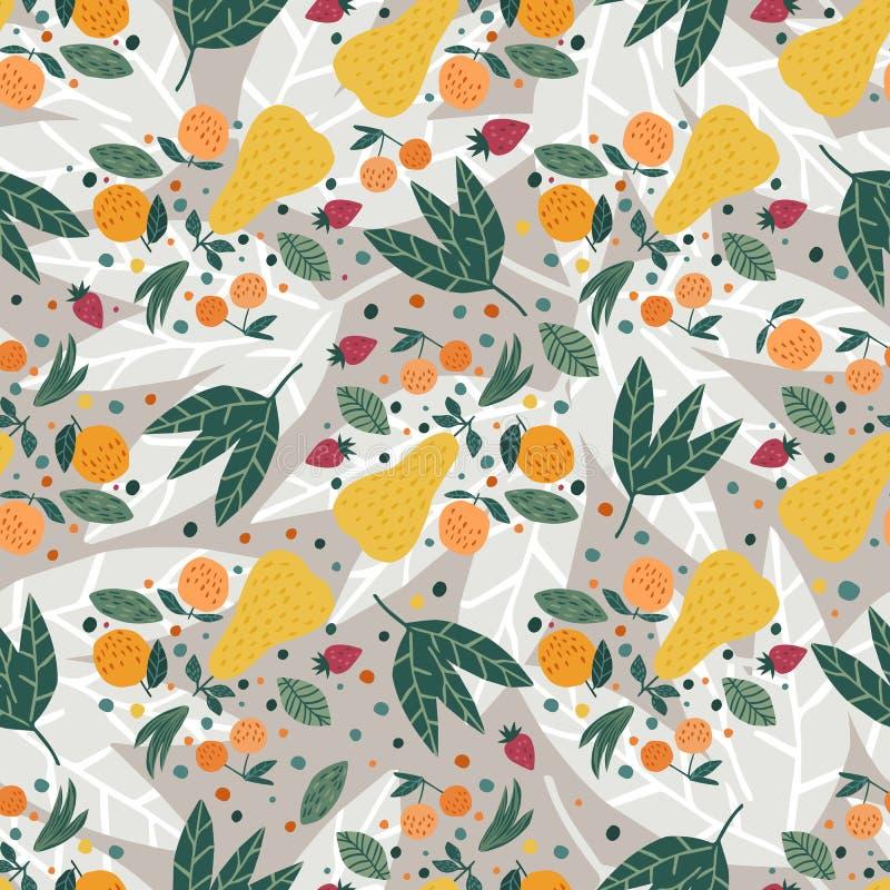Het naadloze patroon van vruchten Appelen, peren, aardbeien en bladerenhand getrokken behang royalty-vrije illustratie