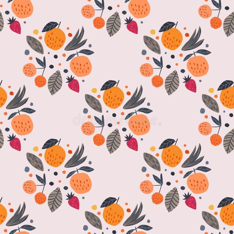 Het naadloze patroon van vruchten De grappige achtergrond van het tuinfruit royalty-vrije illustratie