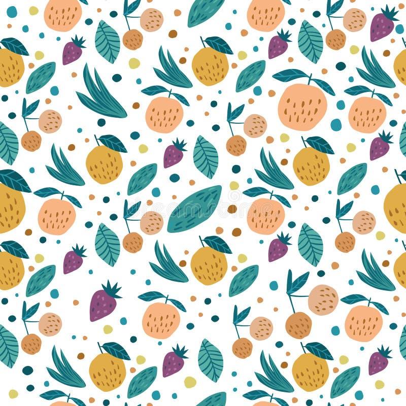 Het naadloze patroon van vruchten Kersenbessen, appelen, aardbeien vector illustratie