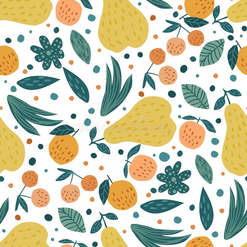 Het naadloze patroon van vruchten Kersenbessen, appelen, peren en bladeren royalty-vrije illustratie