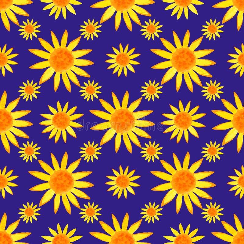 Het naadloze patroon van watercolourzonnebloemen op blauwe achtergrond Vector illustratie stock illustratie