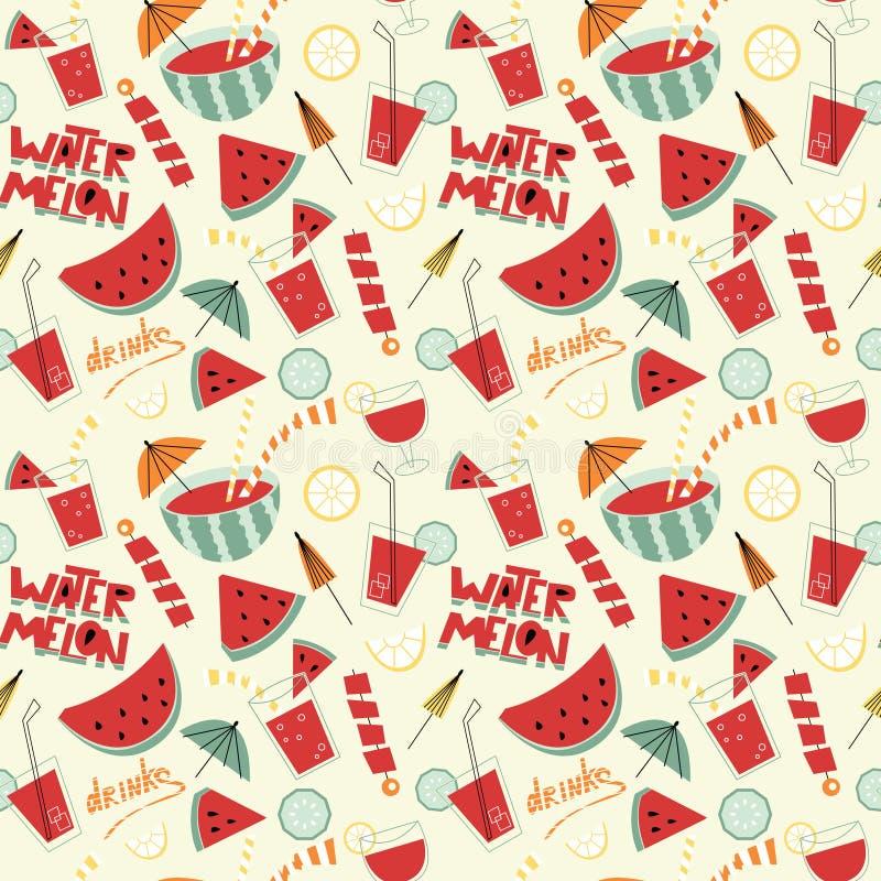 Het naadloze patroon van watermeloencocktails stock illustratie