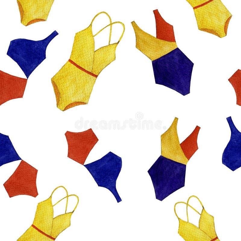Het naadloze patroon van het waterverf kleurrijke zwempak van geïsoleerde voorwerpen op witte achtergrond royalty-vrije illustratie