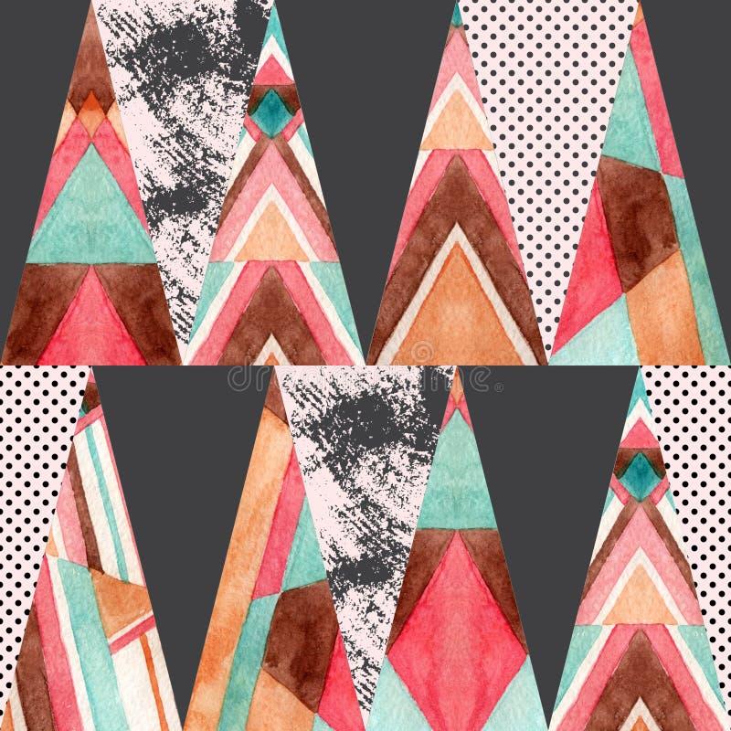 Het naadloze patroon van waterverf overladen driehoeken vector illustratie