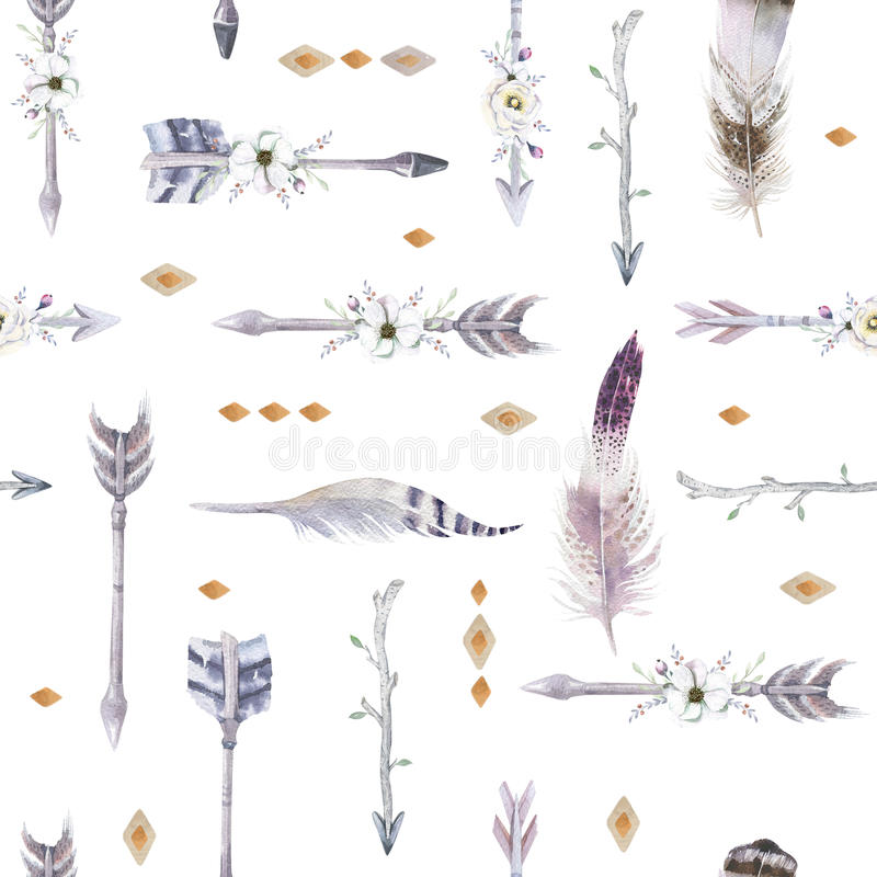 Het naadloze patroon van waterverfboho met tipi, pijlen en veer royalty-vrije illustratie