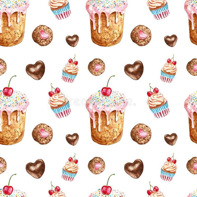 Het naadloze patroon van waterverfdesserts Behandelt de hand geschilderde verjaardag cake, caupcake, koekje, chocoladesuikergoed stock foto